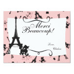 """A Parisian Party thank you note in Pink 4.25"""" X 5.5"""" Invitation Card"""