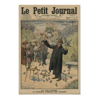 A Parisian type, the bird charmer of the Poster
