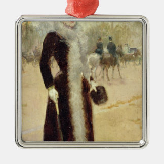 A Parisian Woman in the Bois de Boulogne, c.1899 Square Metal Christmas Ornament