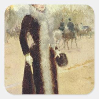 A Parisian Woman in the Bois de Boulogne, c.1899 Square Sticker
