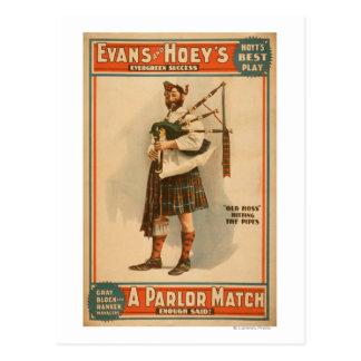 "A parlor Match ""Old Hoss"" Scottish Bagpiper Postcard"