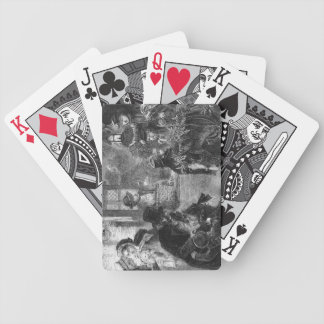 A part of guests arrives to visit old folk bicycle playing cards