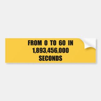 A partir la 0 a 60 en segundos etiqueta de parachoque