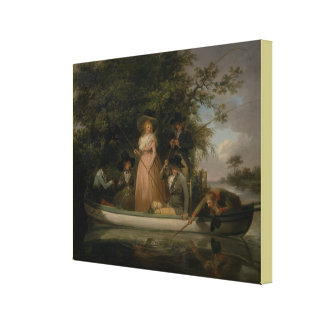 A Party Angling by George Morland Canvas Print