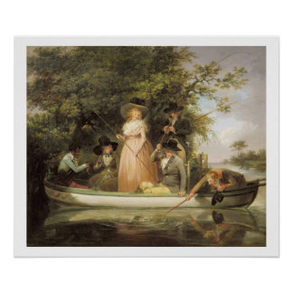 A Party Angling (oil on canvas) Poster