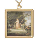 A Party Angling (oil on canvas) Square Pendant Necklace
