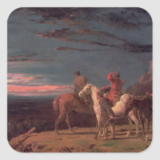 A Party of Explorers, 1851 (oil on canvas) Square Sticker