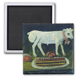 A paschal lamb, 1914 2 inch square magnet