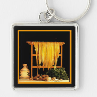 A Pasta Feast Silver-Colored Square Keychain