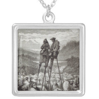 A Pastoral in the Landes Square Pendant Necklace