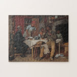 "A Pastoral Visit Jigsaw Puzzle<br><div class=""desc"">A Pastoral Visit depicts a black family welcoming their elderly pastor to Sunday dinner. This work was painted by the American artist Richard Norris Brooke in 1881</div>"