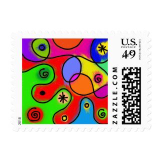 A Patchwork of Colorful Swirls Stamp