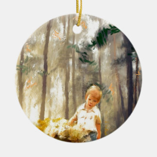 a path with a heart painting ceramic ornament
