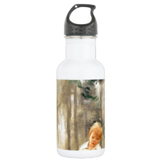 a path with a heart painting 18oz water bottle