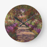 A Pathway in Monet's Garden, Giverny, 1902 Round Clock