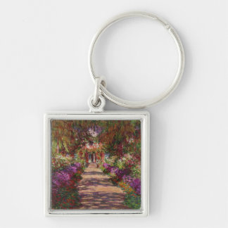 A Pathway in Monet's Garden, Giverny, 1902 Silver-Colored Square Keychain