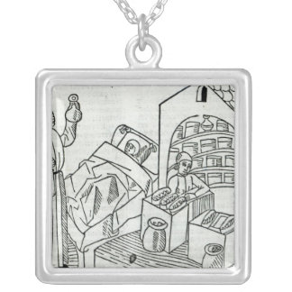 A patient with a Doctor and a Pharmacist Silver Plated Necklace