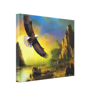 A Patriotic Design with Bald Eagle Flying High Canvas Print