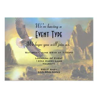 A Patriotic Design with Bald Eagle Flying High Card