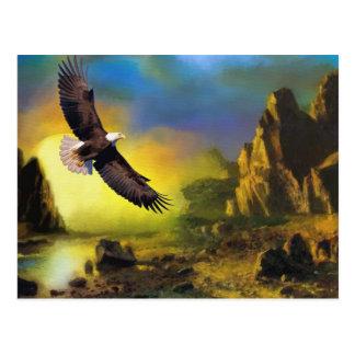 A Patriotic Design with Bald Eagle Flying High Postcard