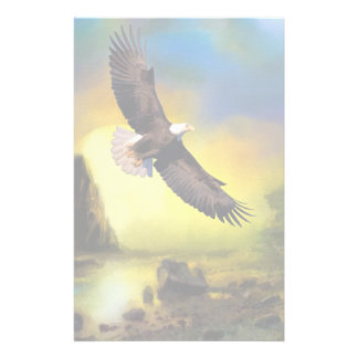 A Patriotic Design with Bald Eagle Flying High Stationery