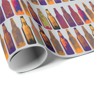 a pattern of bottles (beer) wrapping paper