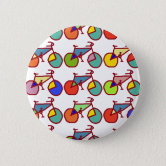a pattern of colorful bikes pinback button
