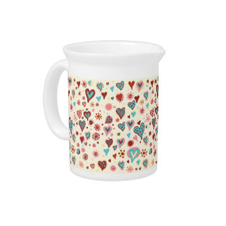 A Pattern of Hearts Drink Pitcher