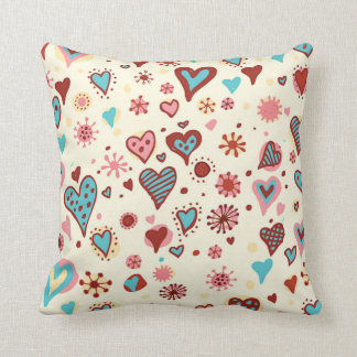 A Pattern of Hearts Throw Pillows