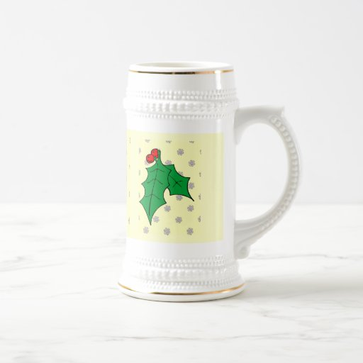 A pattern of snowflakes, holly 18 oz beer stein
