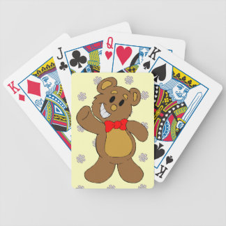A pattern of snowflakes, Teddy bear Bicycle Playing Cards