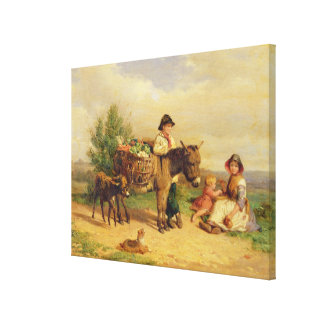 A Pause on the Way to Market Canvas Print