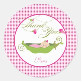 A  Pea in a Pod Baby Shower Favor Sticker