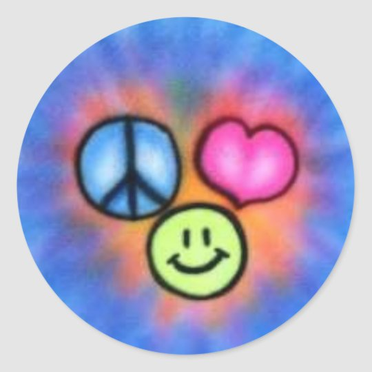a-peace_love_happiness classic round sticker