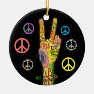 A Peaceful Theme - Peace Sign Ceramic Ornament