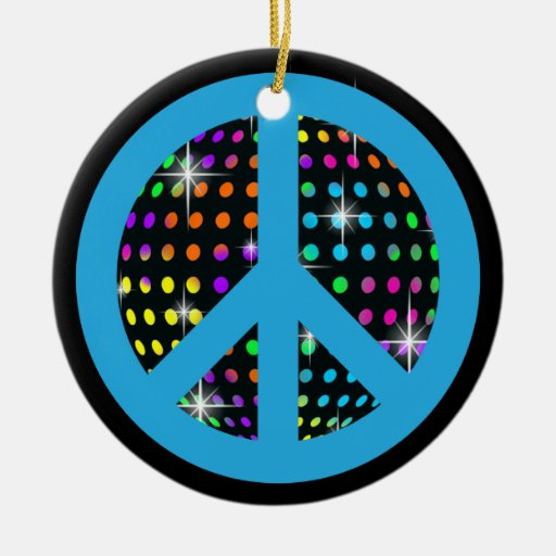 A Peaceful Theme - Peace Sign Double-Sided Ceramic Round Christmas Ornament