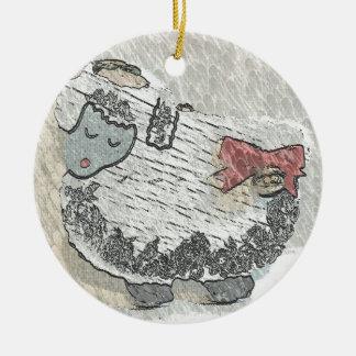"A Peaceful Wooly Sheep Named ""LuLu"" Ornament"