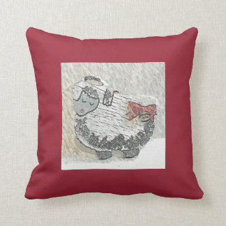 """A Peaceful Wooly Sheep Named """"LuLu"""" Pillow"""