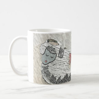 A Peaceful Wooly Sheep with a Vintage Style Mug