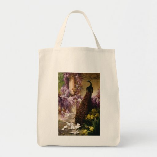 A Peacock and Doves in a Garden Print Grocery Tote Bag
