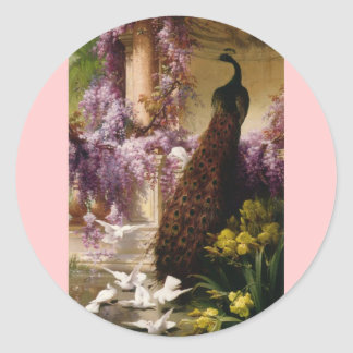 A Peacock and Doves in a Garden Print Classic Round Sticker