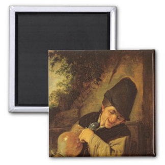 A Peasant Holding a Jug and a Pipe, c.1650-55 2 Inch Square Magnet