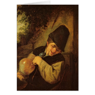 A Peasant Holding a Jug and a Pipe, c.1650-55 Card