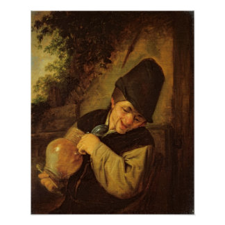 A Peasant Holding a Jug and a Pipe, c.1650-55 Poster