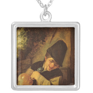 A Peasant Holding a Jug and a Pipe, c.1650-55 Silver Plated Necklace