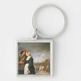 A Peasant Wedding, 1648 Silver-Colored Square Keychain