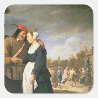 A Peasant Wedding, 1648 Square Sticker