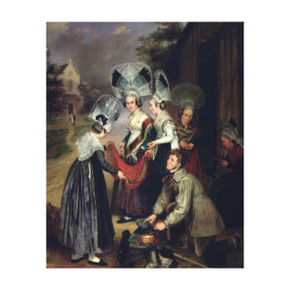 A Peddler Selling Scarves to Women from Troyes Canvas Print