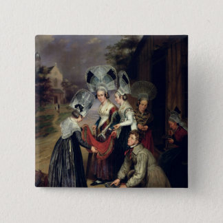 A Peddler Selling Scarves to Women from Troyes Pinback Button