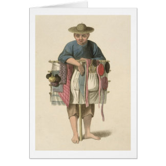 A Pedlar, plate 17 from 'The Costume of China', en Greeting Card